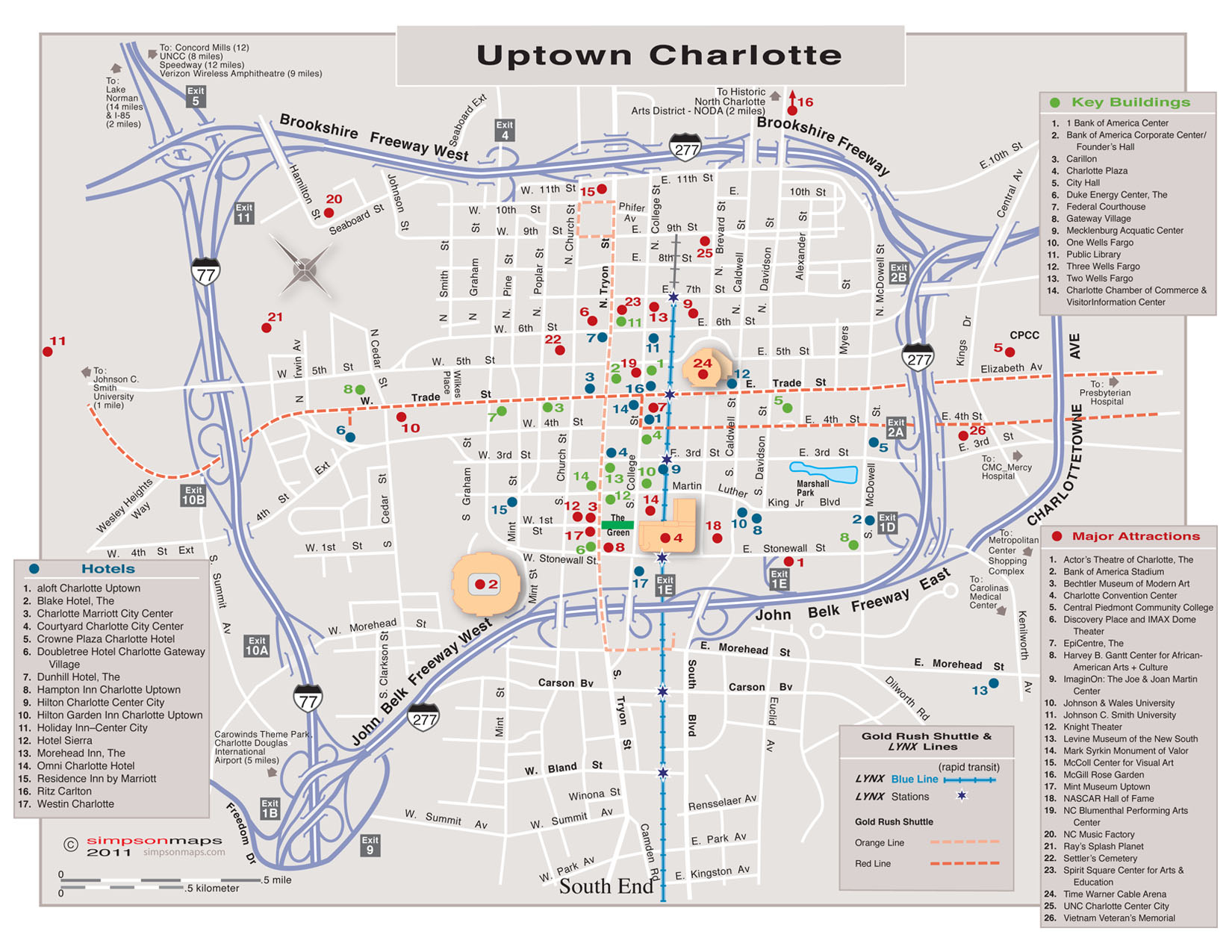 uptown street map  points of interest. maps  charlotte chamber